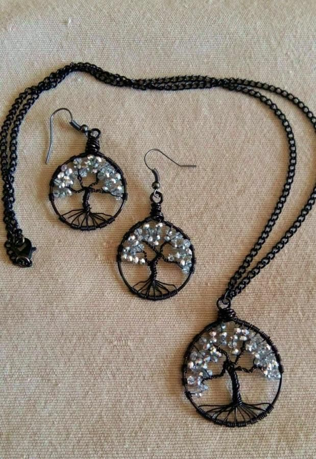 Tree of Life Wire Wrapped Pendant & Earrings by It's A Wrap - Bracelets & More