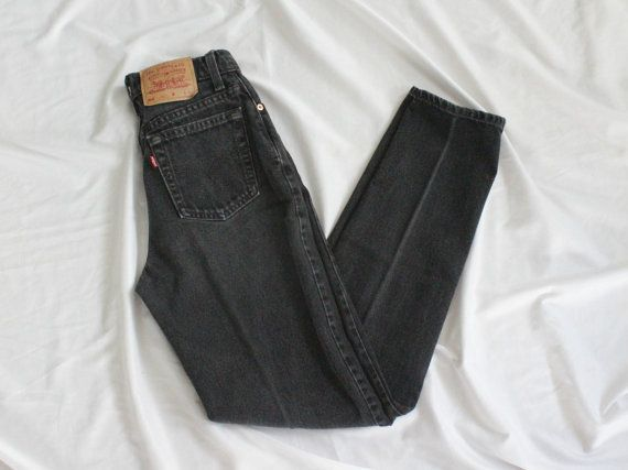 "Vintage High Rise Levis | Vintage Faded Black Wash Tapered Denim | Levis 512 | 26"" W Small S"