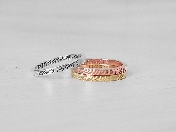 20% OFF Skinny Fingerprint Band - Dainty Actual Fingerprint Ring - Memorial Jewelry - Couple Rings - FR09