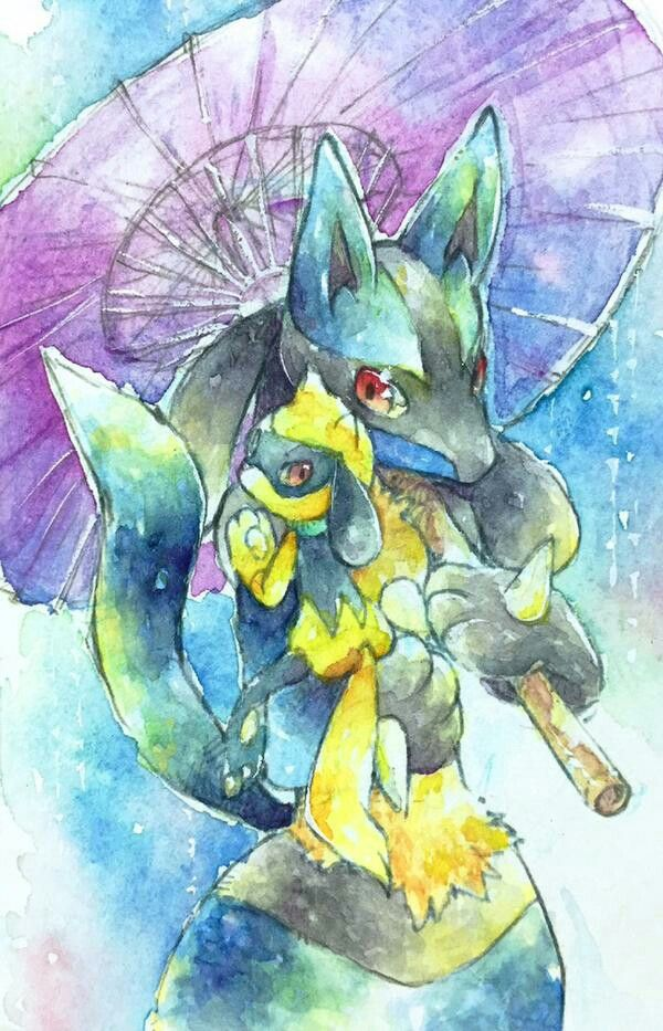 Lucario and Shiny Riolu | Lucario | Pinterest