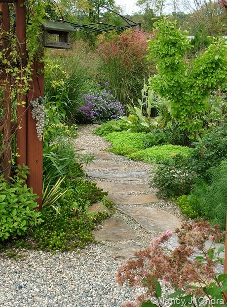 It's about layers again. Garden tiers from the walk to the edging plants up into the taller plants.