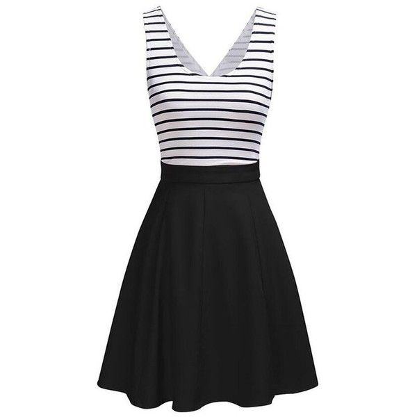 Back Faux Wrap Cutout Stripe Skater Dress ($16) ❤ liked on Polyvore featuring dresses, rosegal, striped dress, cut out dresses, striped skater dress, skater dress and cut-out skater dresses