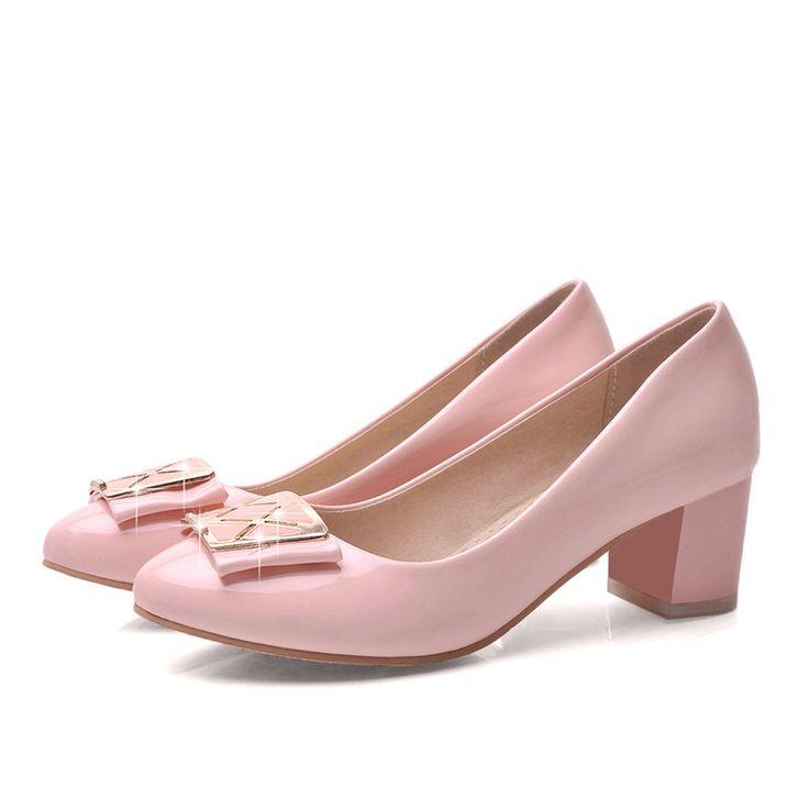 Весна осень женская обувь круглый носок искусственная кожа мед пятки блестками свободного покроя твердые женщины туфли на высоком каблуке розовый размер 34   43 купить на AliExpress