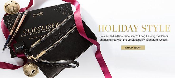 Set cadou Creioane de ochi GlideLiner™ Ready-to-Wear şi gentuţă plic Jo Mouselli!  Ediţie limitată de iarnă. Creează un look excepţional şi de lungă durată, cu cele patru nuanţe prezentate în două creioane de ochi GlideLiner™ duale. Creat de Jo Mousselli pentru a se potrivi cu toate culorile de ochi.  www.extensii-gene.ro