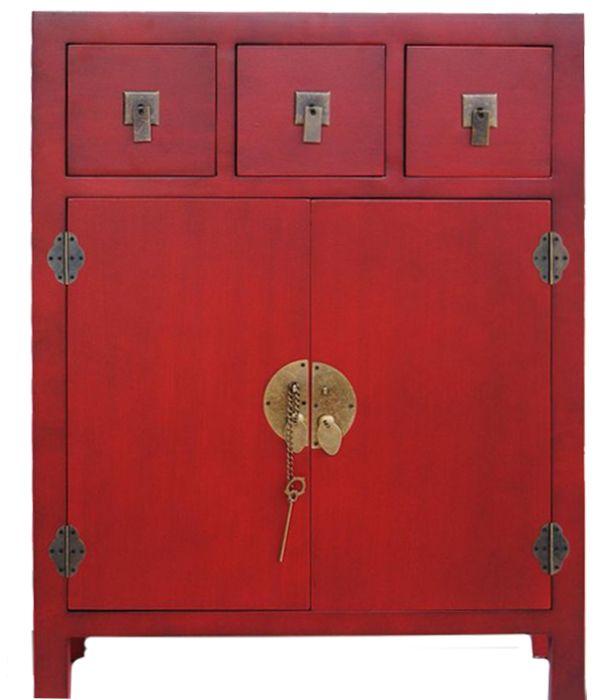 Muebles para el Hogar: Muebles Orientales | Recibidor oriental japones con 3 cajones centrales y 2 puertas Mod 7084 Rojo                                                                                                                                                                                 Más