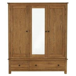#Bedroom #Furniture - Oak 3 door #wardrobe with mirror
