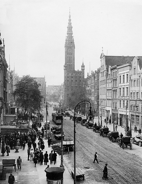 View of the Rathaus and Market Place, Danzig, May, 1933.