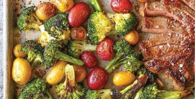 Ζουμερές μπριζόλες στο γκριλ, με λαχανικά