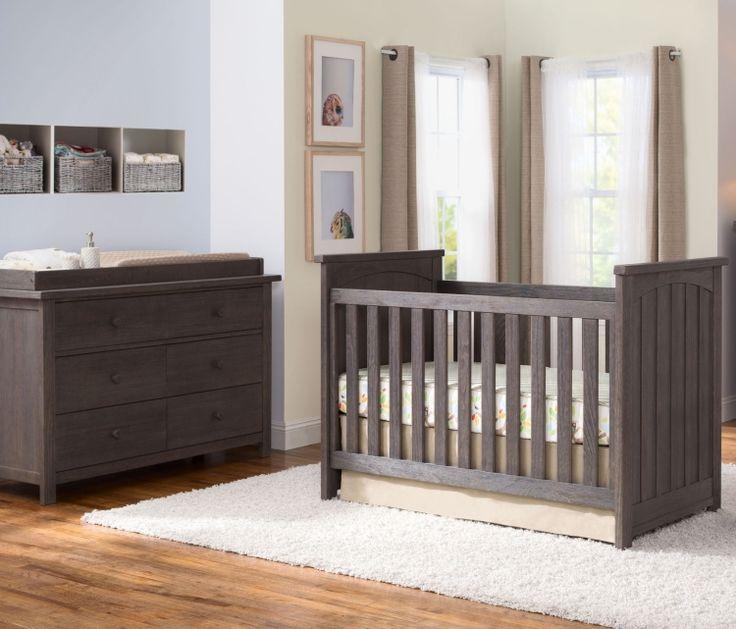 Serta Northbrook Classic Crib 4 Piece Nursery Set, Rustic Grey