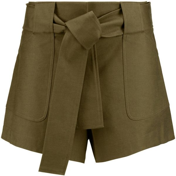 10 Crosby by Derek Lam Brushed cotton-blend shorts ($140) ❤ liked on Polyvore featuring shorts, army green, 10 crosby derek lam, olive green shorts, olive shorts, highwaist shorts and loose fit shorts
