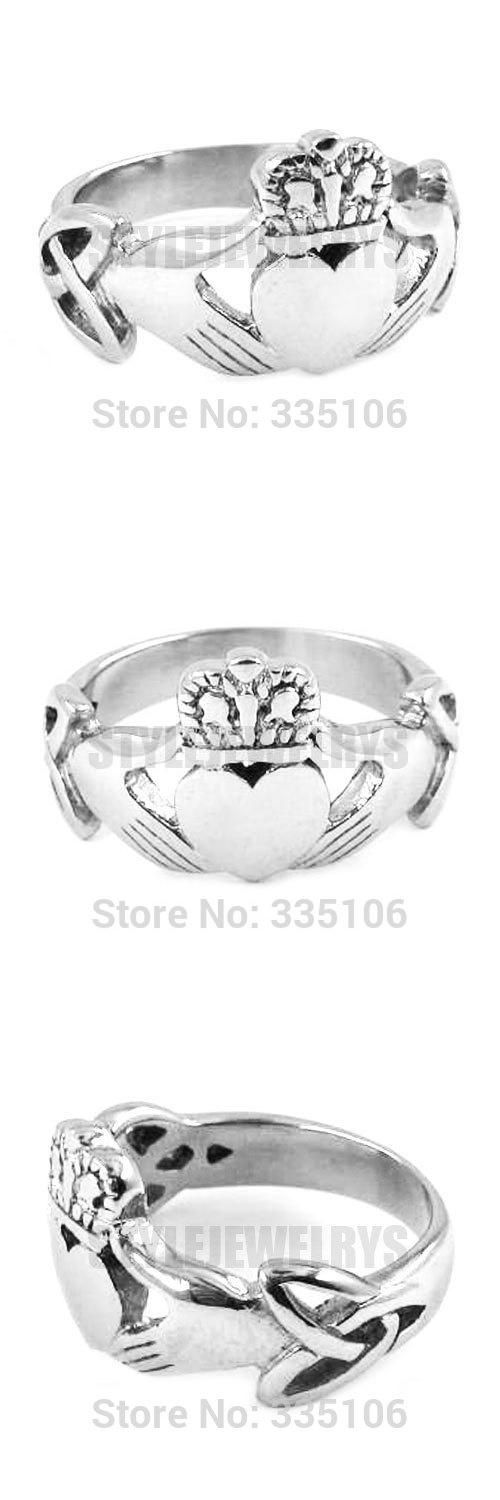 [Visit to Buy] Free shipping! Claddagh Style Hand to Hold a Heart with Crown Ring Stainless Steel Jewelry Celtic Knot Wedding Ring SWR0309A #Advertisement