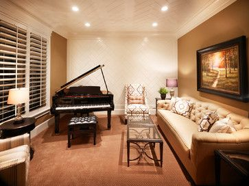 Love the ceiling and wall pattern and recessed lighting