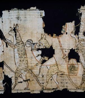Papyrus depicting satirical scene, ca 1100 BC, dating from reign of Ramesses IX, Detail, Egyptian Civilisation, New Kingdom, Dynasty XX