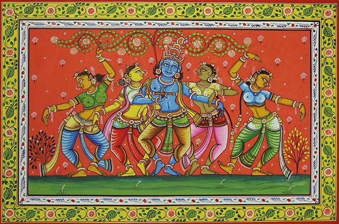 Traditional Patachitra painting of Lord Krishna dancing with the gopis.