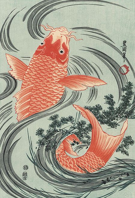 43 best japanese art images on pinterest japanese art for Japanese koi fish artwork