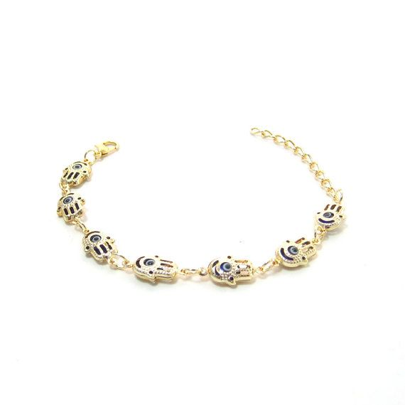 Gold plated evil eye hamsa bracelet by CHRISTIELORRAINE on Etsy, $16.90