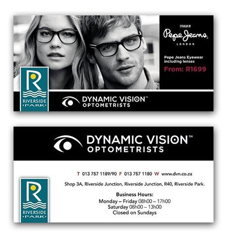 Great News! The October edition of 'My Lowveld' has some amazing coupons which you can redeem and save at various outlets! Presenting Dynamic Vision - Copy and present this voucher when purchasing Pepe Jeans Eyewear including the lenses from only R1699