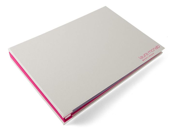 H\Co A4 custom Graphic design portfolio in ivory buckram and pink - resume portfolio folder