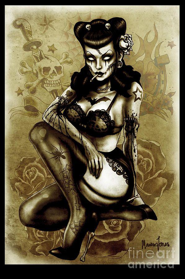 tattooed vintage zombie art: screaming demons