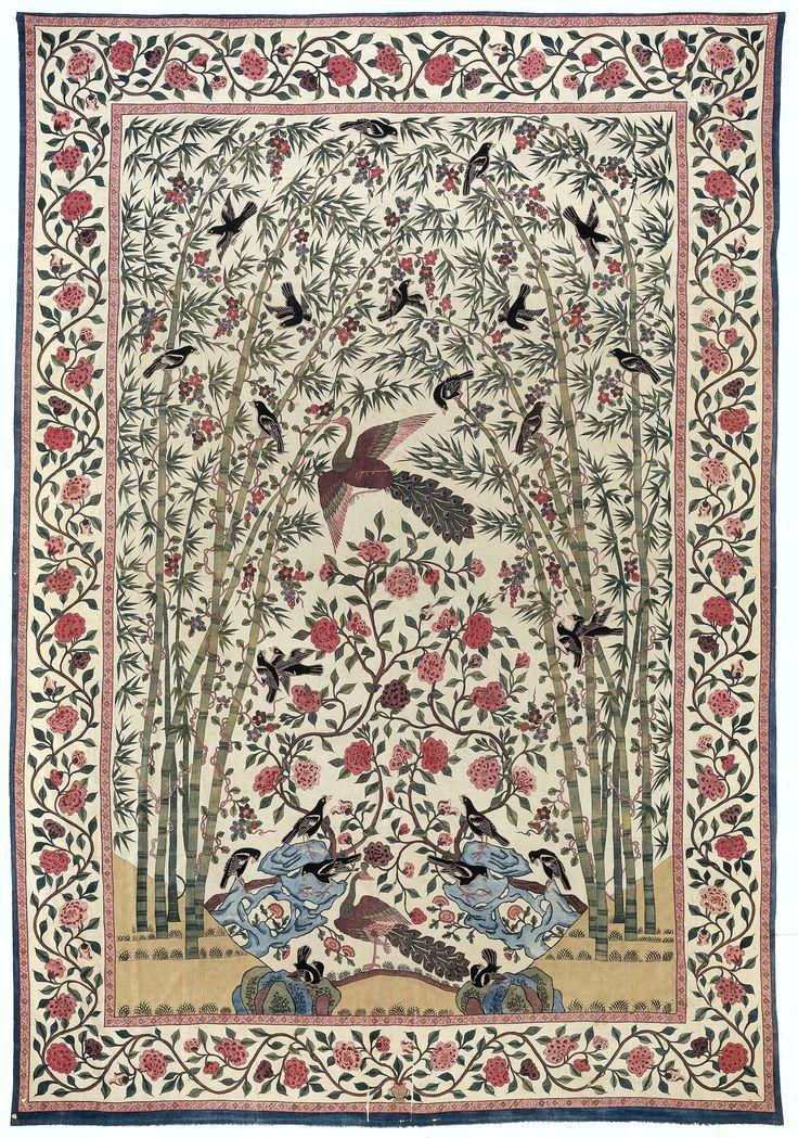Palempore met patroon van pauwen en zwarte vogels in bamboebos, Anonymous, c. 1750 - c. 1775