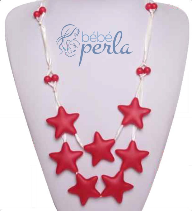 Silicone teething necklace - Star Kelly Red www.bebeperla.com
