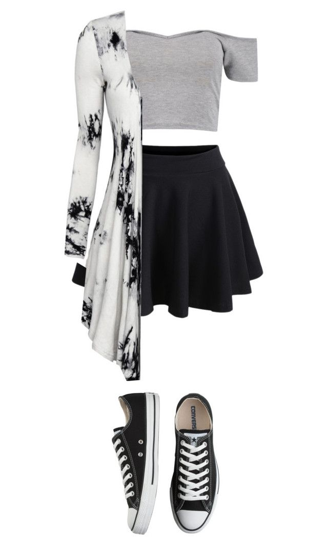 """""""Untitled #54"""" by tati-matewa ❤ liked on Polyvore featuring WithChic, Boohoo and Converse"""