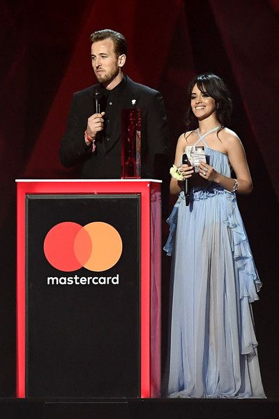 Harry Kane and Camila Cabello on stage at The BRIT Awards 2018 held at The  O2 Arena on February 21 459ec85b137