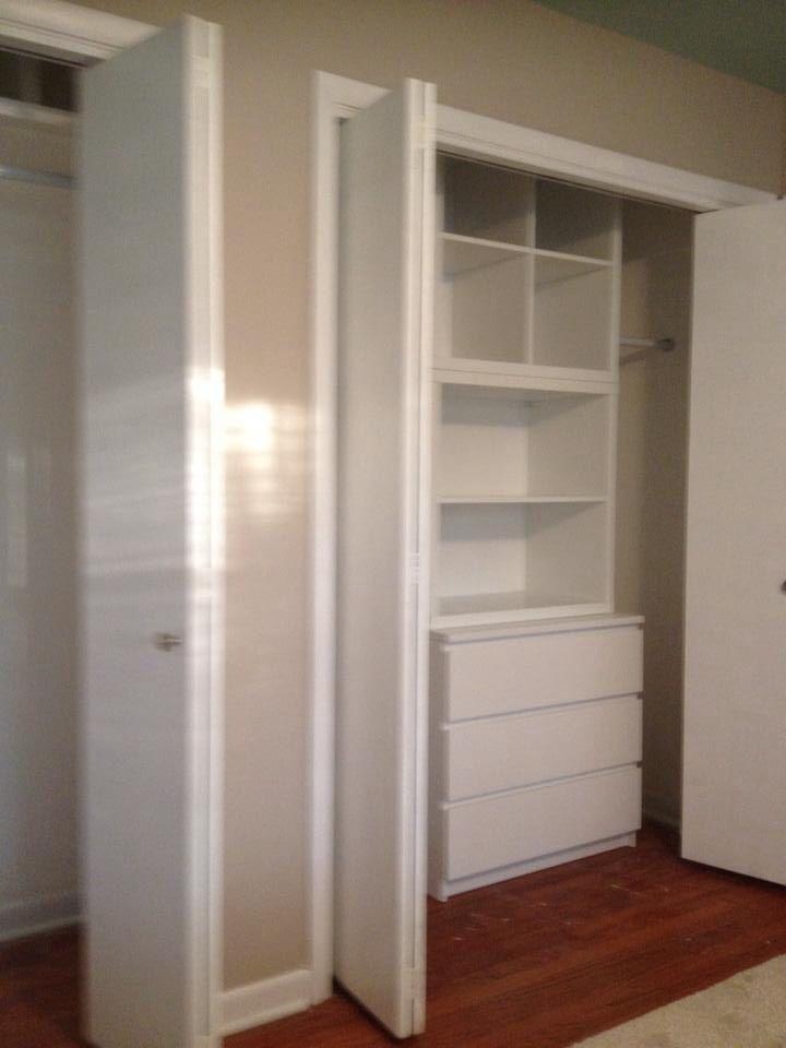 Closet- Ikea Kallax shelving with modifications, Malm 3 drawer dresser. Designed by Karen.