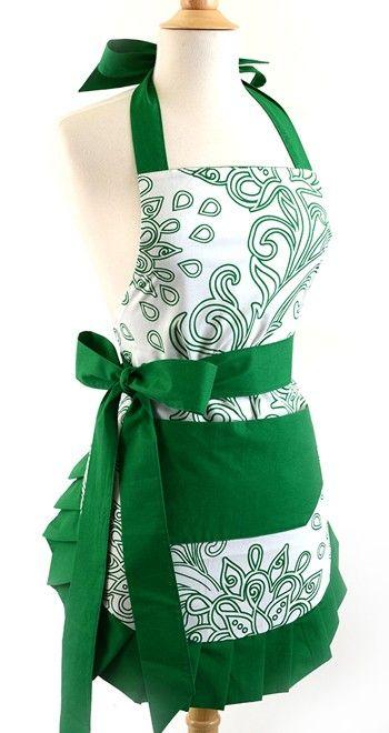 Womens Apron Original Green Goddess $34.95 AT vintagedancer.com