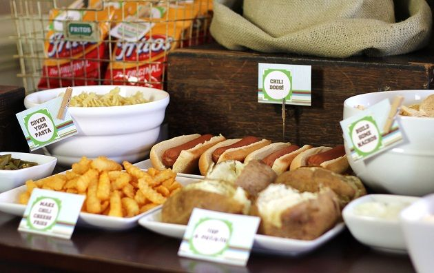 Chili Bar -- guests can top nachos, Fritos, french fries, baked potatoes or hot dogs with chili and other things like cheese, sour cream, jalapenos and tomatoes.