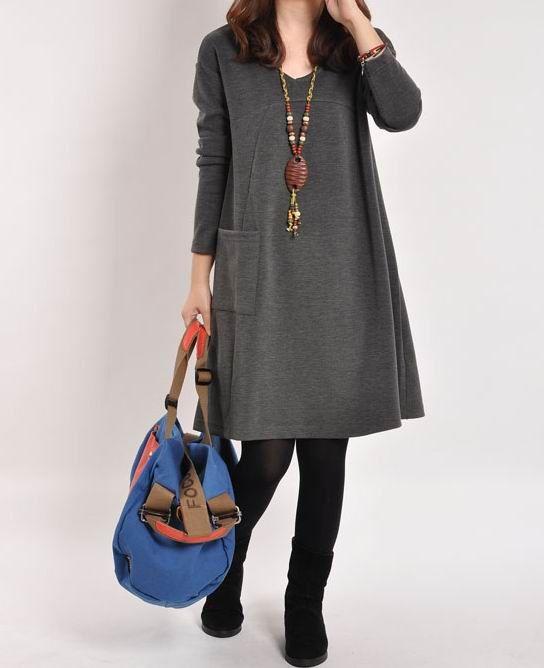 Gray cotton dress Long sleeve dress cotton by originalstyleshop, $58.90