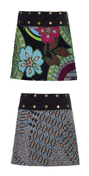 Reversible skirt multicolour cotton 2 sides  rokje zwart tropical drukkers