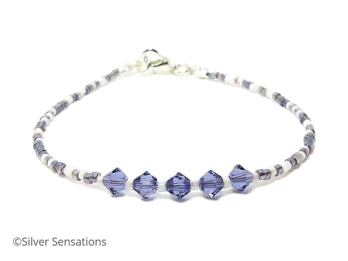 Dainty Friendship Bracelet With Purple Swarovski Crystals @ProCrafterguild @eshopsUK #bohochic #seedbeads #fashion #UKWeekendHour  https://www.silver-sensations.co.uk/tanzanite-purple--white-seed-bead-stacking-bracelet-with-swarovski-crystals-10371-p.asp