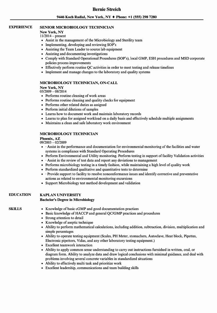 Lab technician resume examples best of microbiology
