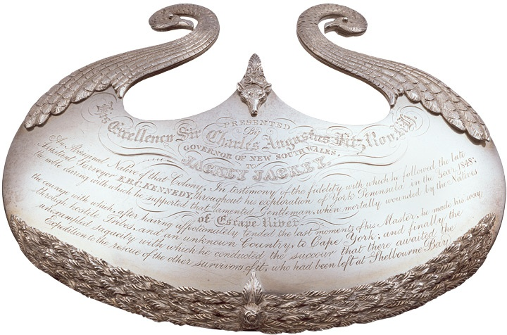 [Silver breastplate] Presented by His Excellency Sir Charles Augustus Fitz Roy K.H., Governor of New South Wales, to Jackey Jackey...     From the collections of the Mitchell Library, State Library of New South Wales http://www.sl.nsw.gov.au/events/exhibitions/2010/mari_nawi/03_explorers/image06.html#Find more detailed information about this item: http://acms.sl.nsw.gov.au/item/itemDetailPaged.aspx?itemID=446737