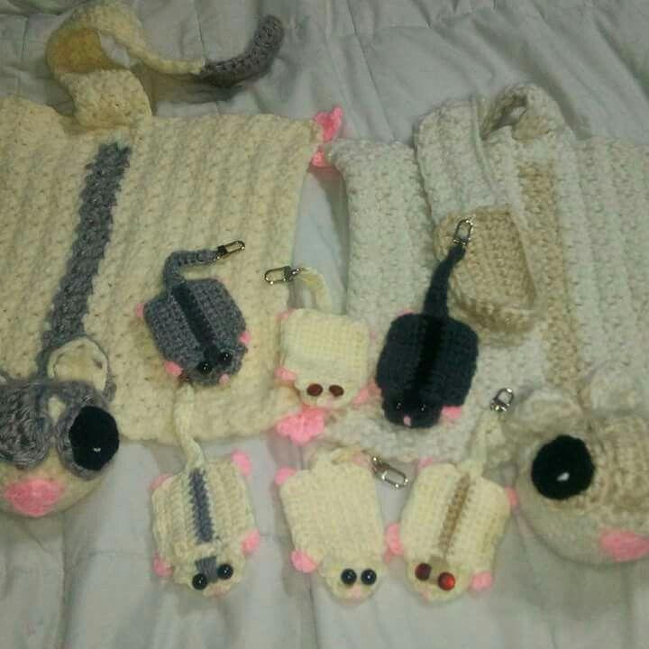 Sugar glider crochet keychains and sugar glider crochet baby blankets lovey