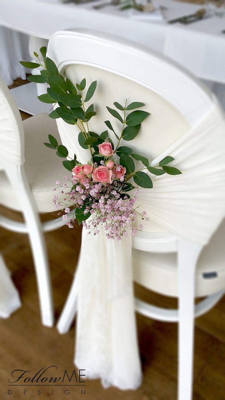 Dekoracje krzeseł Pary Młodej / Rustykalne Dekoracje ślubne od FollowMe DESIGN / Bride and Groom Chair Decorations / Rustic Wedding Decorations & Details by FollowMe DESIGN