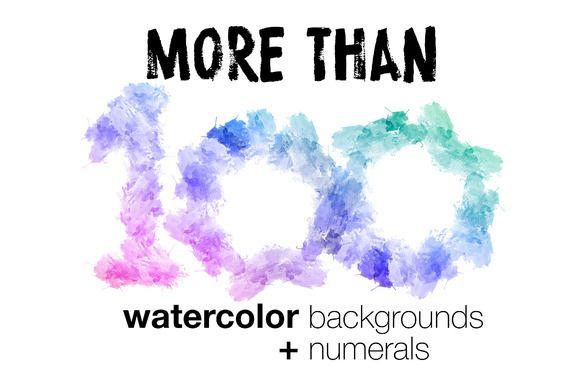 Watercolor backgrounds + numerals by dokarpov on @creativemarket