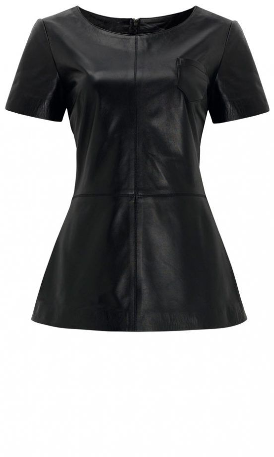 Marks And Spencer Leather Peplum Top, £199