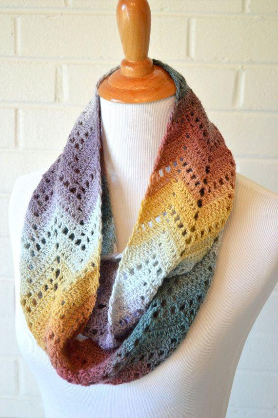 Crochet Chevron Infinity Scarf Multicolor by HookedandThreaded. Cute. Inspiration.