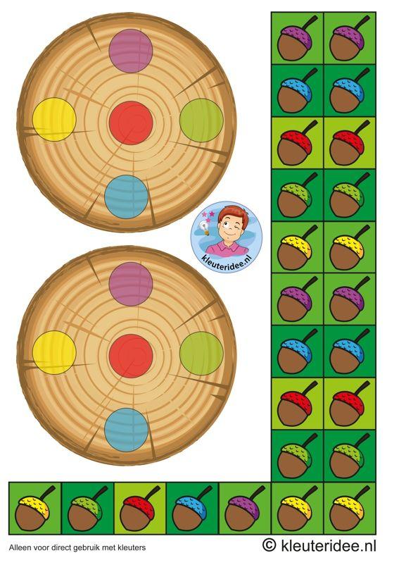 Eikelspel voor kleuters, spelbord voor spelers 2, thema herfst,  by juf Petra van kleuteridee, Preschool acorn game, personal gameboard 2, free printable.