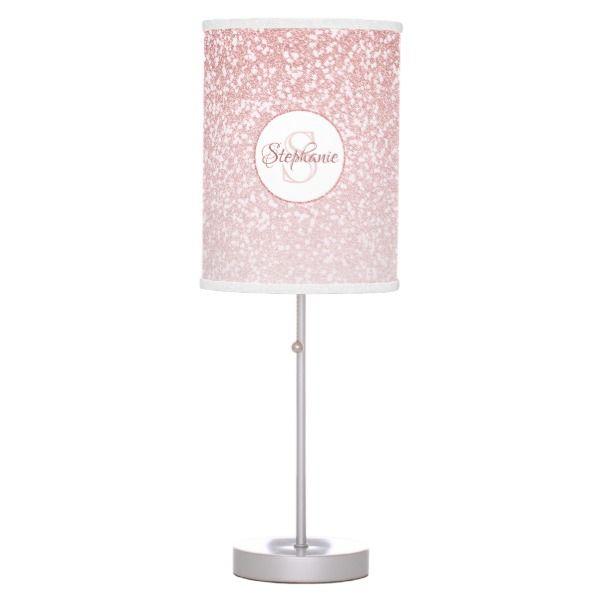 Rose Gold Glitter Blush Pink Monogram Table Lamp Zazzle Com Pink Monogram Rose Gold Glitter Monogram Desk