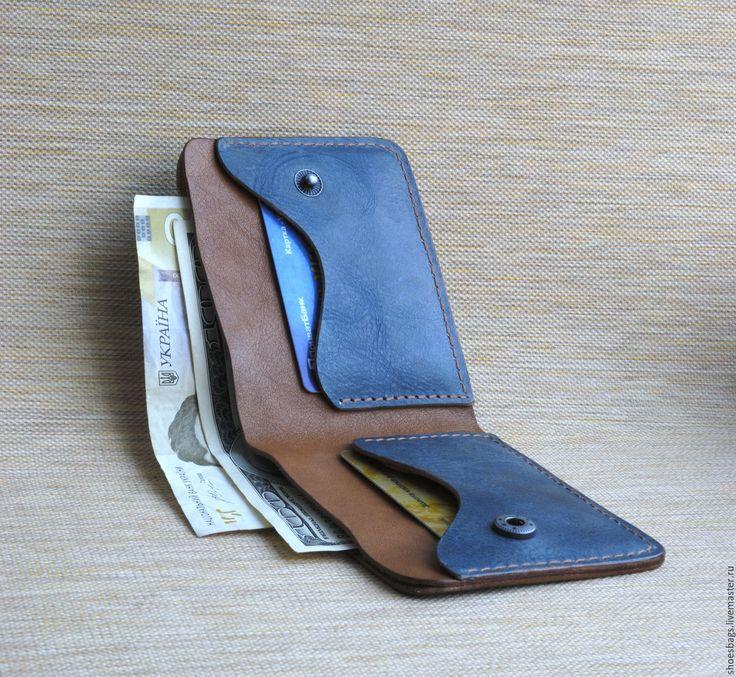 Купить Кошелёк - комбинированный, синий, кошелек, кошелек из кожи, кошелек ручной работы, кошелек кожаный