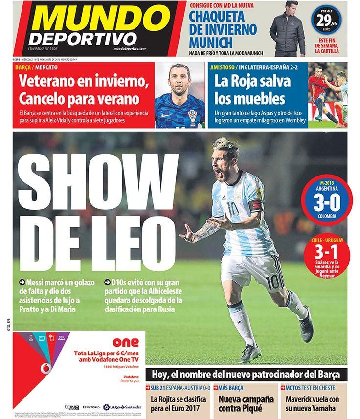 Portada Mundo Deportivo, miércoles 16 de noviembre de 2016