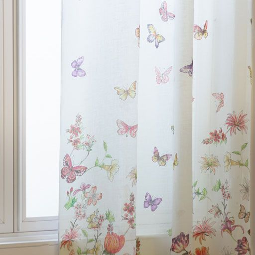 Image of the product Curtain with a colourful floral and butterfly print
