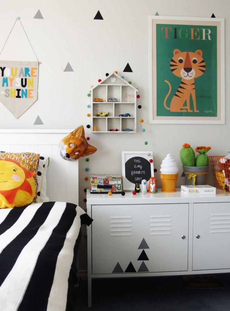 felt ball garland black and white toddler room
