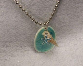 Costa del Golfo colección bola cadena collar con estrella de mar encanto genuino mar Shell Concha y turquesa cerámica colgante playa joyas - 13109