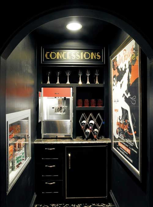 Love the idea of a concessions area....maybe created with a corner bar? Mini fridge, lighting, signage, popcorn maker.