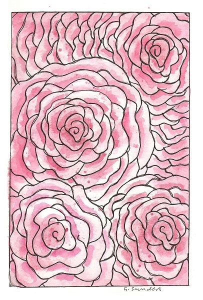 Doodle Roses Watercolor and fineliner design by Guinevere Saunders, 2015