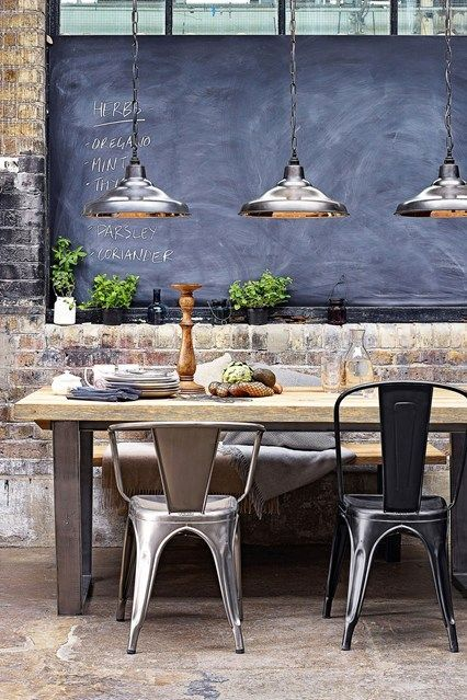 Industrial chairs in gunmetal (or silver) and black metal. *hanging lights, chalkboard wall panel #IndustrialChair